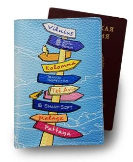 Кожаная обложка для паспорта с уникальным дизайном